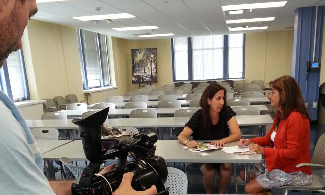 Juan Carlos Borrero films footage at the Manhattan Family Justice Center for a video about the Integrated Domestic Violence Court model. (July 9, 2014)