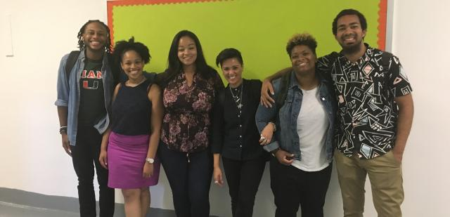 Some of the members of our Restorative Justice in Schools project pause for a photo in the halls of the Samuel J. Tilden High School Campus in Brooklyn, N.Y. Many juvenile justice advocates highlight how standard responses to misbehavior in schools—chiefly suspensions, and the widespread adoption of zero tolerance policies—can increase a student's chances of coming into contact with the criminal justice system. Responding to these concerns, in partnership with the New York City Department of Education, we're implementing school-wide restorative justice programs in five Brooklyn public high schools. Our research department will be evaluating the effectiveness of the programs versus traditional forms of discipline over the next three years, with a focus on disparities related to race and disability.