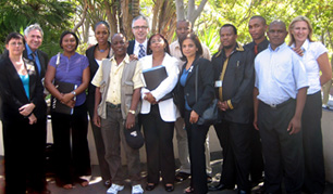COMMUNITY PROSECUTION IN SOUTH AFRICA Left to right: Val Melis (Durban), Richard Griggs (IPT researcher), Machell Jacobs (Cape Town), Judge Wanda Dallas (Atlanta, Georgia USA), Gugulethu Mampofu (Mdantsane), Julius Lang (Director, Technical Assistance, Center for Court Innovation), Fiona Cloete (Cape Town), Raymond Mathenjwa (Randburg), Adv. Shamila Batohi (Director of Public Prosecutions, KwaZulu-Natal), Thaxx Matalong (Kuruman), Ron Mncwabe (Mamelodi), Ishmael Motaung (Bethlehem), and Iole Mathews (IPT Program Manager).