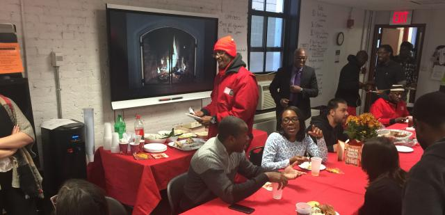 Midtown Community Court kicks off the holiday season with a lunch for participating fathers and alumni of its UPNEXT program. UPNEXT works with unemployed men and/or non-custodial fathers on job training and family engagement and is currently enrolling for its next cycle. Call to apply at 646-264-1354.