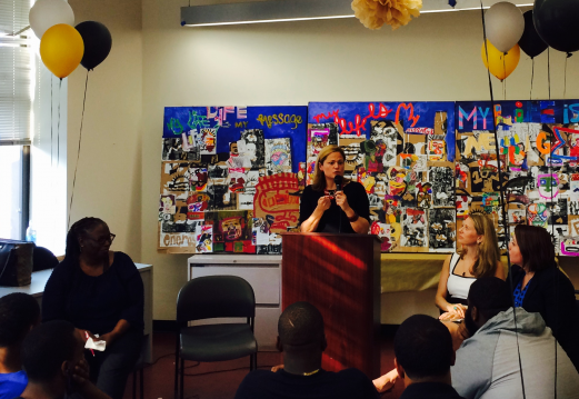 Melissa Mark-Viverito, Speaker of the New York City Council, delivers the keynote address at the graduation for Justice Community Plus, a job training program for court involved and at-risk young adults run by the Harlem Community Justice Center and Save Our Streets Bronx.
