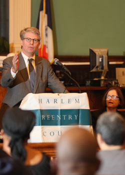 Manhattan District Attorney Cy Vance Jr. speaks at a graduation of the Harlem Parole Reentry Court.