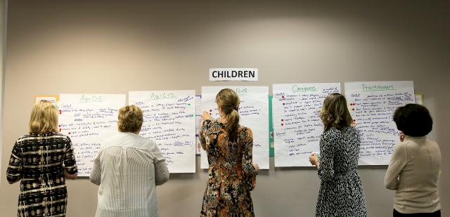 Participants at a recent meeting convened by the Center for Court Innovation brainstorm different strategies for preparing children to testify in court. The meeting was part of the Child Witness Materials Development Project, funded by the  Office for Victims of Crime, a component of the Office of Justice Programs at the U.S. Department of Justice. Experts came from all over the country to discuss how to develop materials to support child witnesses and victims who testify in court, as well as provide guidance for caregivers and justice personnel who help to prepare them.