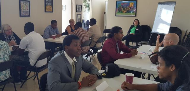 This summer, the Harlem Community Justice Center organized a mock interview session as part of workforce development for Justice Corps youth. Volunteer interviewers included a Buddhist, a former Justice Corps participant who is now in college, educators, and staff.