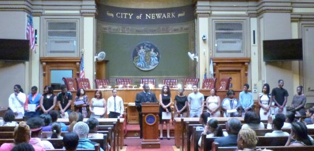 The Newark Youth Court, which trains teenagers to handle real-life cases involving their peers, held its 11th new member induction ceremony at the Newark Municipal Council Chambers earlier this summer. The ceremony included a keynote address by Andrea McChristian, associate counsel at the New Jersey Institute for Social Justice. Newark Municipal Court Judge Jude O. Nkama administered the new member oath.