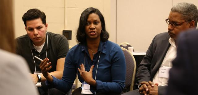 At Community Justice 2016, held in Chicago last week, Southwest Detroit Community Justice Center Program Assistant Juan Ochoa, left, Executive Director Tonya Phillips and Detroit Director of Probation Adrian Green participate in a breakout session titled Community Justice at the Local Level. (April 20, 2016)