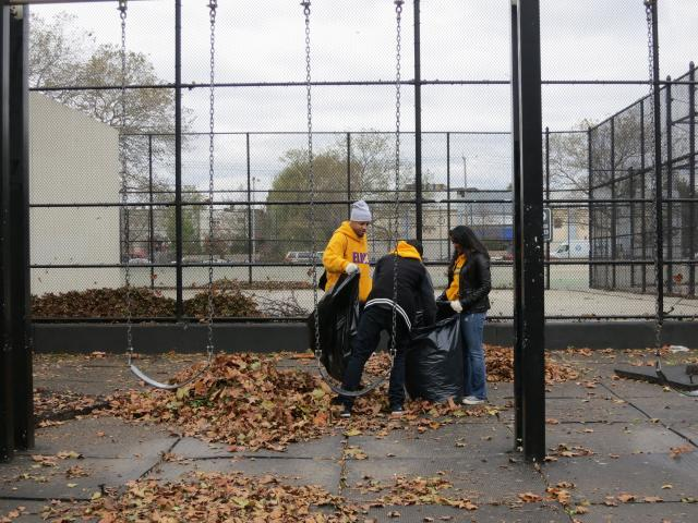 After Hurricane Sandy flooded Red Hook, Brooklyn, the New York Juvenile Justice Corps and the Red Hook Community Justice Center worked to clean up the neighborhood. (October 31, 2012)