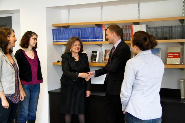 Susan Lindenauer, board director for the New York Bar Foundation, came to the Center on April 20th to present Greg Berman with grant checks from the Foundation for four of our youth programs: Youth Justice Programs, the Youth Justice Board, the Greenpoint Youth Court, and the Staten Island Youth Court. (April 25, 2012)
