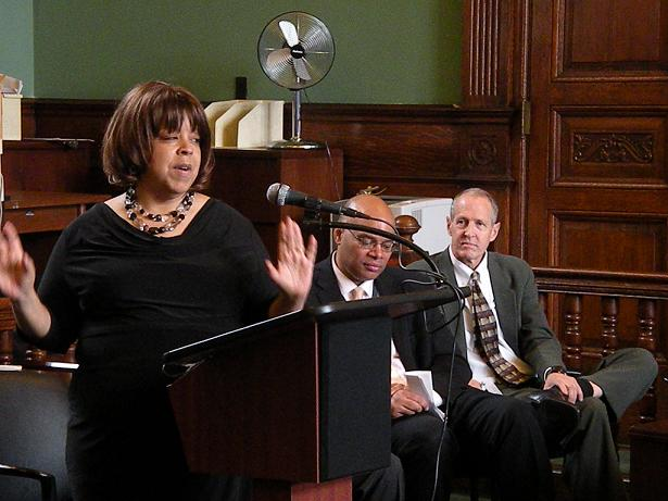 On Law Day, Judge Fern Fischer gives the keynote speech at the Harlem Community Justice Center. (May 23, 2012)
