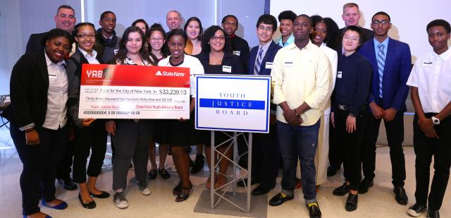In June 2016, the Youth Justice Board presented the results of a year's work towards strengthening police-youth relations in New York City, including the redesign of a police precinct youth room and the first screening of their short film Getting to Know YOUth. At the event, held at the John Jay College of Criminal Justice, they received a check from the State Farm Youth Advisory Board in support of the film.