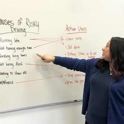 A whiteboard explains risky driving in the Driver Accountability Program at Red Hook Community Justice Center