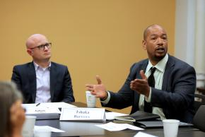 Tshaka Barrows (right), Chief Executive Officer, The W. Haywood Burns Institute, and Julian Adler, Director of Policy and Research, Center for Court Innovation