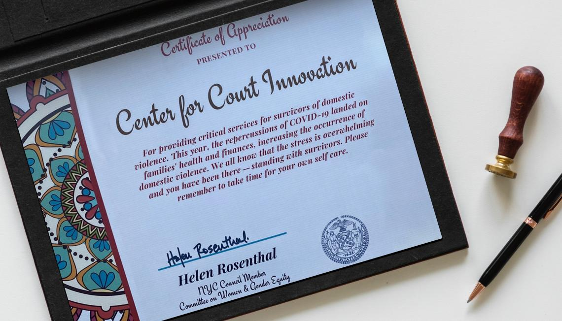 Certificate of Appreciation from New York City Council