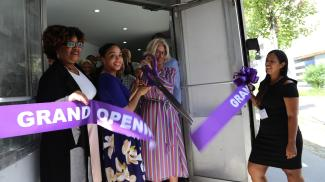 Judge Janet DiFiore Cuts the Ribbon at Legal Hand Launch in the Bronx