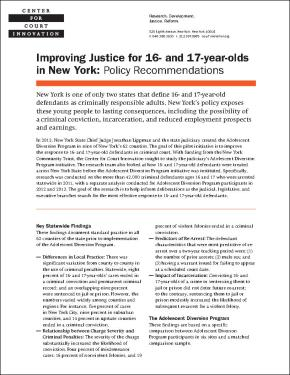 Improving Justice for 16 and 17 year olds in New York
