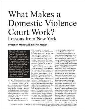 What Makes a Domestic Violence Court Work?