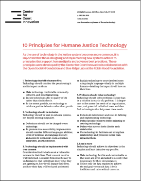 First page of 10 Principles for Humane Justice Technology