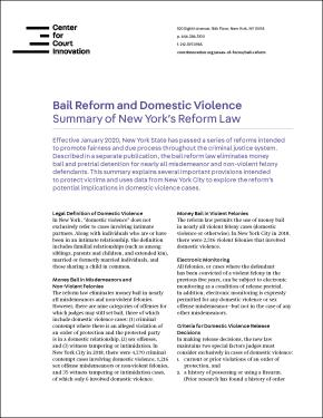 Bail Reform and Domestic Violence Summary Fact Sheet Cover