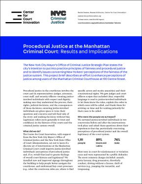 Procedural Justice at the Manhattan Criminal Court - Report Summary Cover