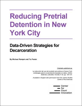 "Front cover of ""Reducing Pretrial Detention in New York City"""