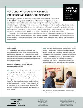 Cover for Taking Action: Resource Coordinators Bridge Courtrooms and Social Services