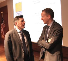 Before his keynote address, Michael Botticelli, acting director of the White House Office of National Drug Control Policy, chats with Greg Berman, director of the Center for Court Innovation.