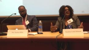 "Reuben J. Miller, assistant professor of social work at the University of Michigan, and his research collaborator Hazelette Crosby-Robinson participate in a panel at ""Justice Innovation in Times of Change,"" a regional summit."