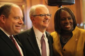 City Councilmembers Rory Lancman and Vanessa Gibson flank New York State Chief Judge Jonathan Lippman.