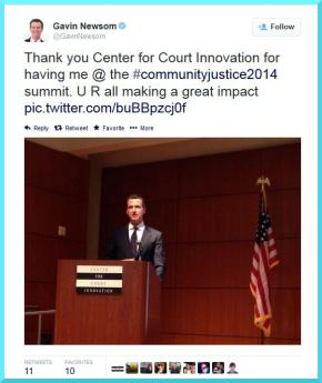 After delivering keynote remarks, California Lieutenant Governor Gavin Newsom helps publicize Community Justice 2014 with a tweet.