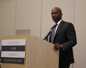 Alameda County Chief Public Defender Brendon Woods delivering his keynote address.