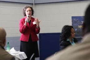 Courtney Bryan, speaking at a clergy breakfast outreach event for the Lippman Commission in the Bronx in January 2017.