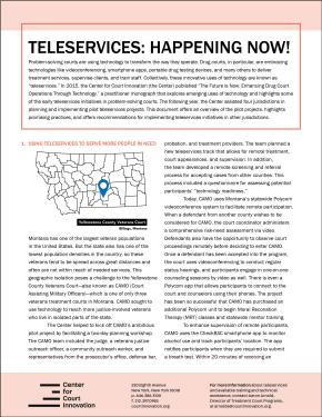 Teleservices: Happening Now! Using Technology to Enhance Drug Treatment Courts