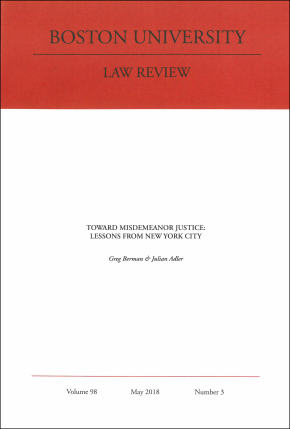 Cover of Boston University Law Review article