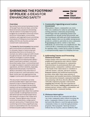 "Front page of ""Shrinking the Footprint of Police: Six Ideas for Enhancing Safety"""