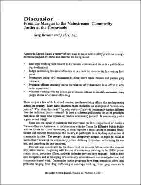 From the Margins to the Mainstream: Community Justice at the Crossroads