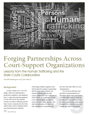 Forging Partnerships Across Court-Support Organizations: Lessons from the Human Trafficking and the State Courts Collaborative